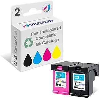 HOTCOLOR 2PK Remanufactured for HP 664XL 664 Black Tri-Color Ink Cartridge HP DeskJet Ink Advantage 1115 2136 3636 3836 4536 4676 Printer
