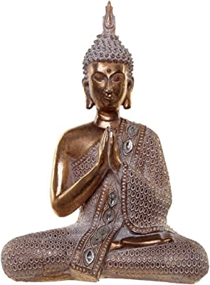 Puckator Thai Buddha Figurine-Gold and White Lotus, Resin, Multi, Height 28cm Width 20cm Depth 8.5cm