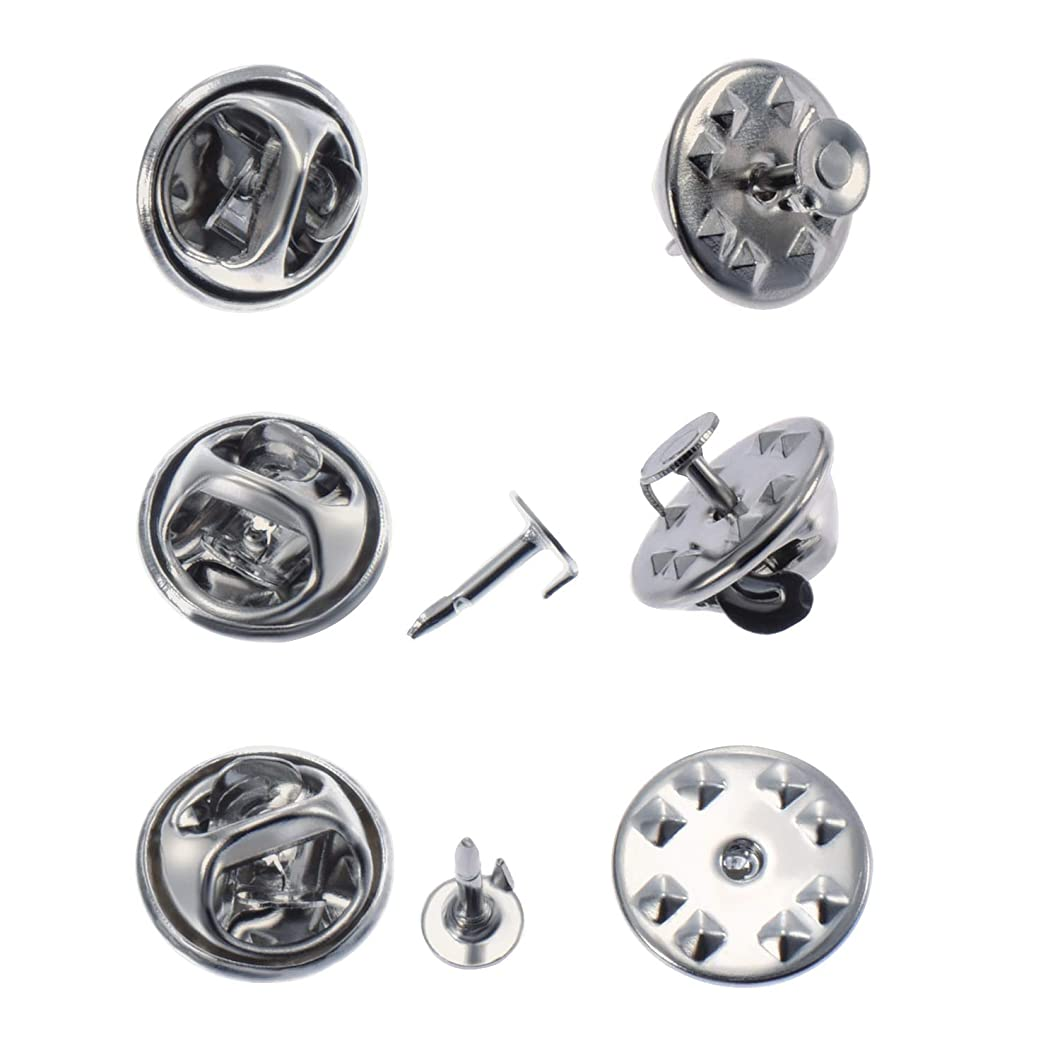 Canomo 100 Pairs Butterfly Clutch Tie Tacks Pin Backs with 4.5mm Blank Pins(Silver) nvpwzwe22