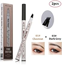2Pcs Tattoo Eyebrow Pen with Four Tips Long-lasting Waterproof Brow Gel and Tint Dye Cream for Eyes Makeup (1#+3#)