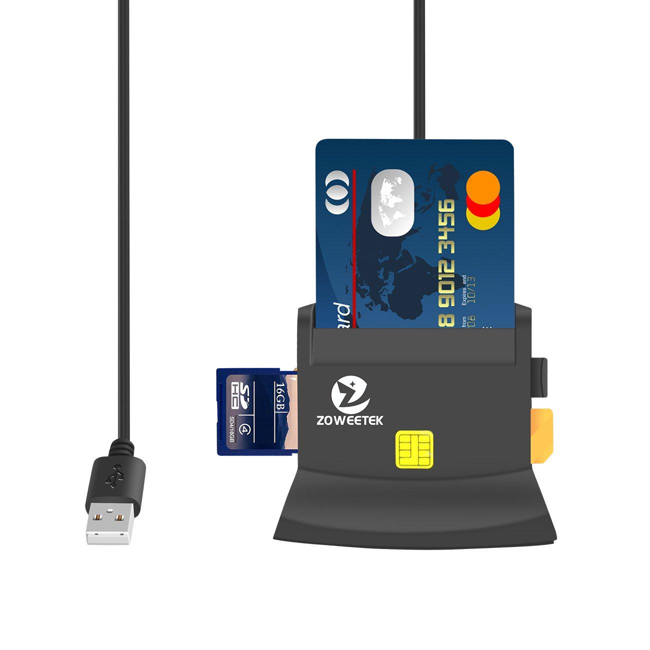 ZOWEETEK® Lector de DNI Electrónico multifunción para Todo Tipo de Tarjeta de Apoyo,Color Negro: Amazon.es: Electrónica
