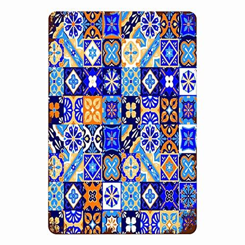 ADONINELP Letreros de metal Cerámica Cerámica Mexicana Talavera Azulejos Patrón Cultura abstracta Azul México Geo Mosaico floral, Cartel de chapa Pintura de hierro de pared Decoración de pared Arte P