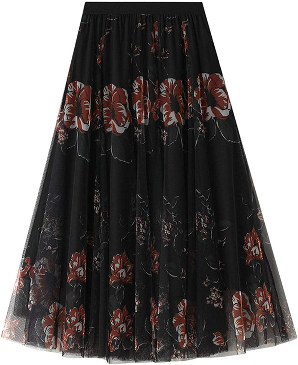 CHARTOU Women's Floral Sheer Mesh Layered Tulle Pleated Swing A-Line Long Skirt