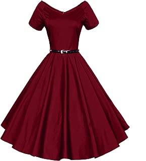 Women's Vintage 1940s 50s Shirtwaist Flared Swing Skaters Dress