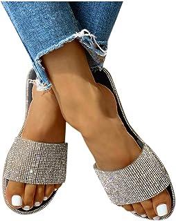 Sandals for Women Rhinestones Bohemian Flat Flip Flops Sandals Casual Summer Beach Outdoor Slippers Womens Sandals