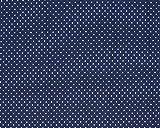 Jersey Stoff mit weißen Punkten auf Marine als Meterware