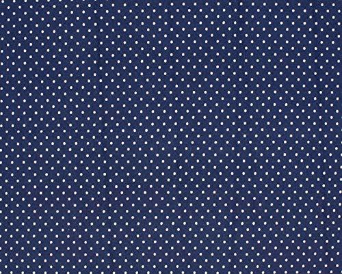 Jersey Stoff mit weißen Punkten auf Marine als Meterware zum Nähen von Baby, Kinder und Erwachsenenkleidung, 50 cm