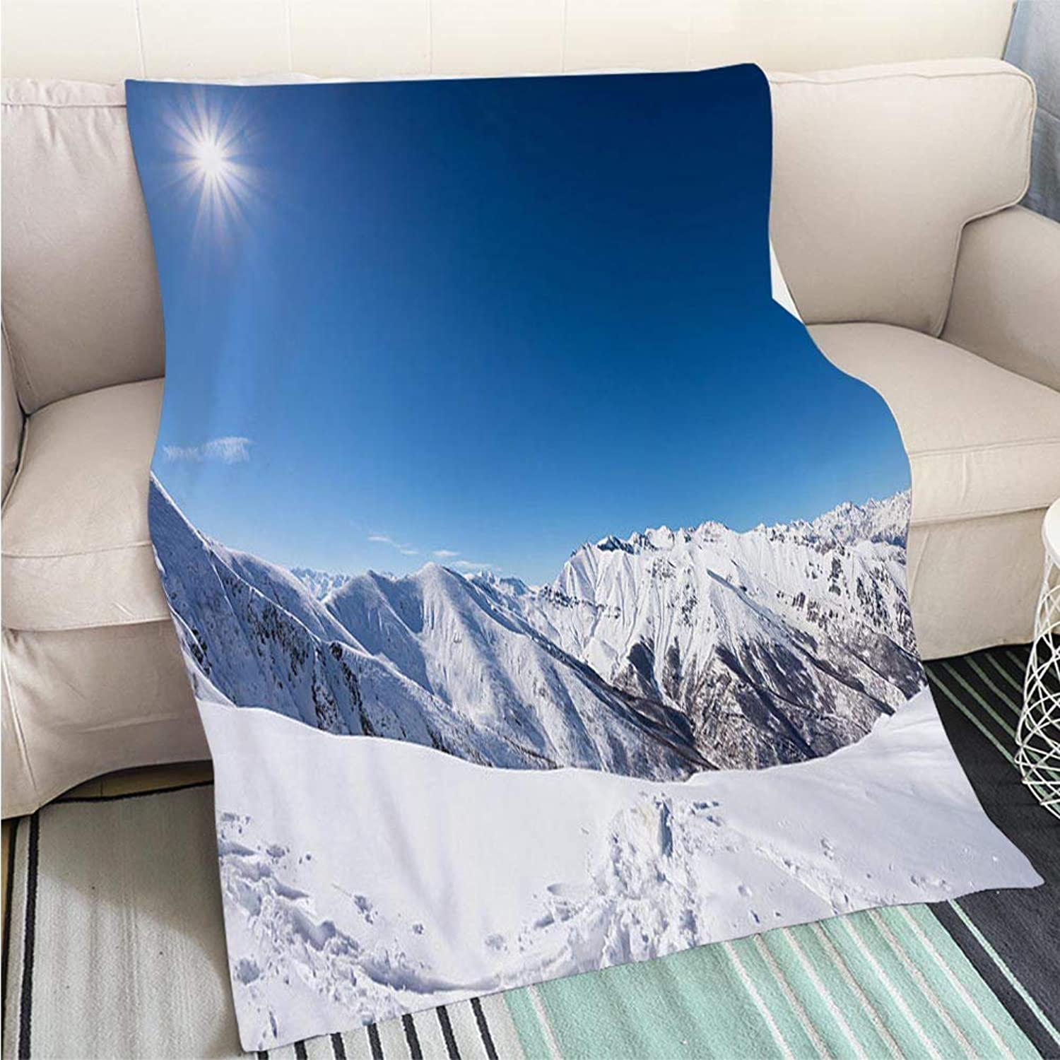 Home Digital Printing Thicken Blanket Sun Star Glowing Over snowcapped Mountain Range Italian Alps Perfect for Couch Sofa or Bed Cool Quilt