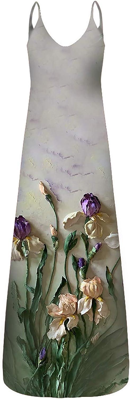 Kleider Damen Maxikleider Boho Kleider Bohemien Freizeitkleider Strandkleider Shirtkleider Abendkleider Brautkleider Teenager M/ädchen Frauen verlieren l/ässig Print Print Pocket Sling /ärmelloses Kleid