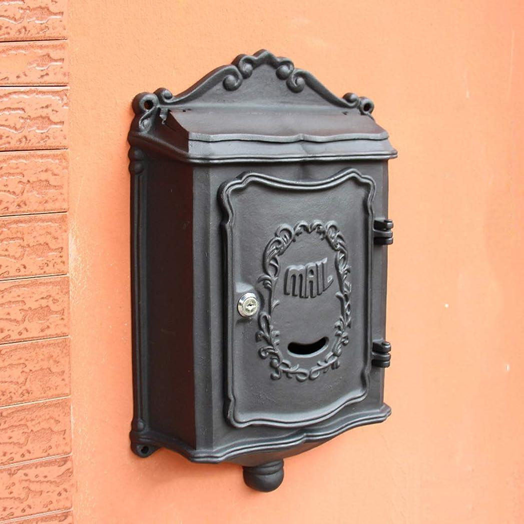 応じる崇拝します怠惰ヨーロッパのレトロな郵便箱の黒を掛ける別荘の郵便箱の屋外の壁 屋外セキュリティメールボックス