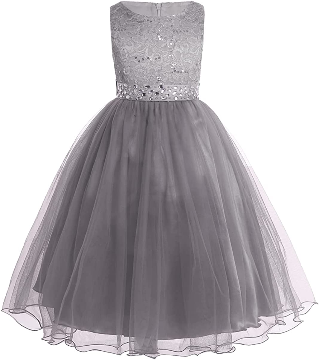 CHICTRY Sequined Lace Bodice Shining Crystal Waist Flower Party Summer Evening Prom Pageant Dress