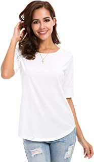 LUSMAY Womens Cotton Tops Casual Fitted T Shirt Half Sleeve Tee - - XXX-Large