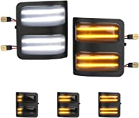 MbuyDIY Sequential Switchback LED Side Mirror Marker Lights Smoke Lens Replacement Compatible with 2008-2016 Ford F250 F350 F450 Super Duty Turn Signal Pack of 2