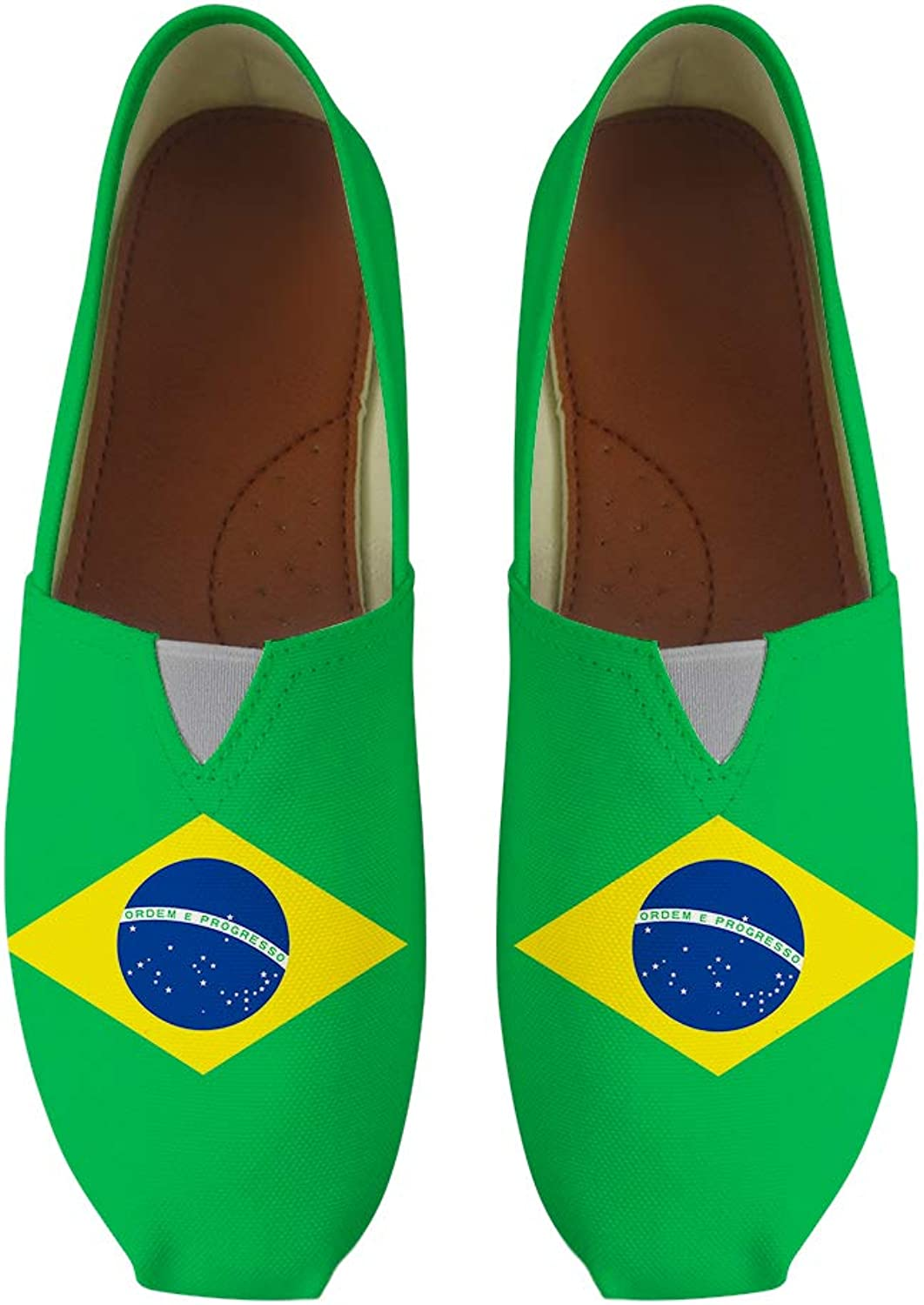 Owaheson Classic Canvas Slip-On Lightweight Driving shoes Soft Penny Loafers Men Women Brazil Flag