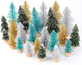 AerWo 24PCS Artificial Mini Christmas Trees Ornaments, Frosted Sisal Trees with Wood Base Bottle Brush Trees Winter DIY Cr...