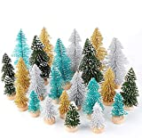 AerWo 24PCS Mini Christmas Trees, Bottle Brush Trees for Winter Decor, Small Artificial Christmas Trees, Frosted Sisal Trees for Winter DIY Crafts, (4 Colors and 3 Sizes)
