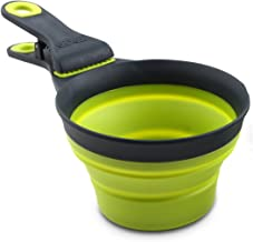 (1/2 Cup Capacity, Gray/Green) - Dexas Popware for Pets Collapsible KlipScoop