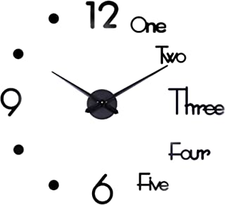 Large 3D Frameless Wall Clock, Silent Non Ticking Stickers DIY Wall Decoration, for Living Room, Bedroom, Office, Kitchen