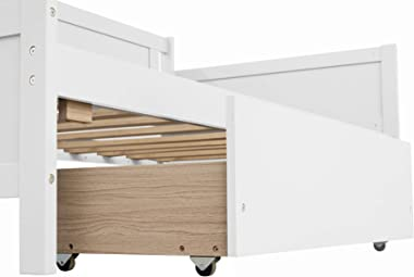 Twin Daybed with Storage Drawers, Wood Twin Daybed Frame, Dual-Use Sturdy Twin Kids Bed for Living Room ,Guest Room ,Children