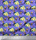 Soimoi Lila schwere Leinwand Stoff Quadrat, Tukan & Blumen-