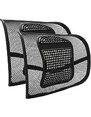 RenFox lendenkussen, 2 stuks, voor auto en kantoor, rugkussen, rugsteun voor bureaustoel, auto, lendensteun, lendensteun met massage, verlichting van rugpijn
