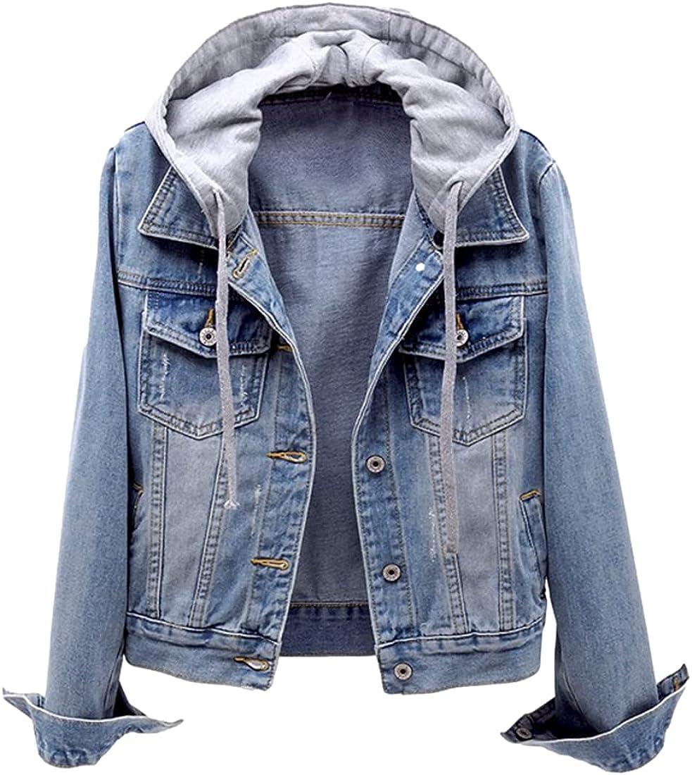 SeekMe Women's Casual Detachable Hoodie Denim Jacket Ripped Distressed Jean Coat