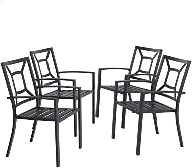 MFSTUDIO 4 Piece Black Metal Patio Chairs Square Back Indoor Outdoor Dining Set Wrought Iron Chair with Arm