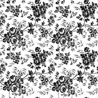 """Magic Cover Adhesive Vinyl Paper for Lining Shelves and Drawers, Decorating and Craft Projects, 18"""" x 60`, Toile Black"""