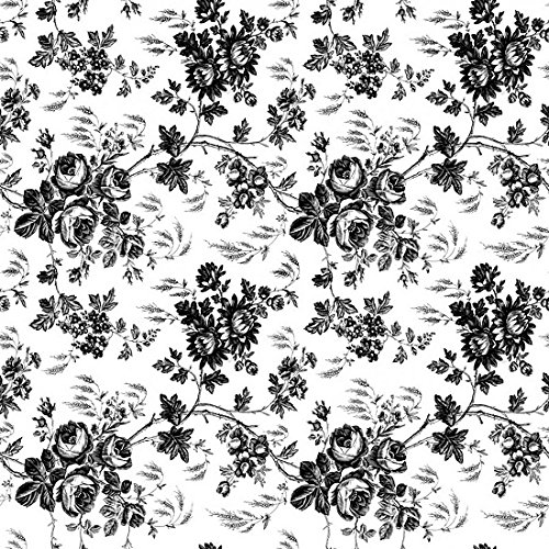 Magic Cover Adhesive Vinyl Paper for Lining Shelves and Drawers Decorating and Craft Projects 18 x 60 Toile Black