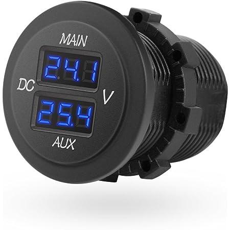 Mictuning 10 60v Led Rund Digital Voltmeter Doppel Spannungsmesser Für Auto Pickup Rv Truck Dual Batterie Pack Auto