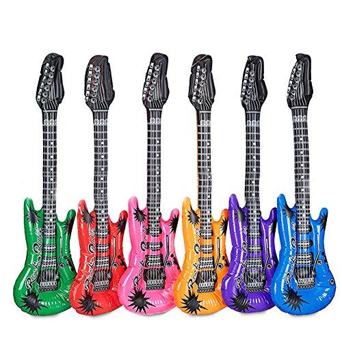 XIAMUSUMMER 12 Stück Luftgitarren Bunt in 6 Farben, Aufblasbare Rock Star Toy Set, Aufblasbare Gitarre, Aufblasbare Party Props Für Party Favors Ballons, Geburtstag, Geschenk
