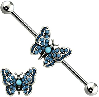 Dynamique Multi Blue Bead Antique Silver Butterfly 316L Surgical Steel Industrial Barbell