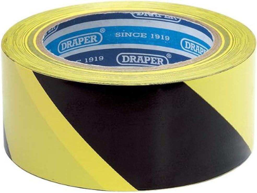 Draper 33M x 50mm Black and Yellow Adhesive Hazard Tape Roll - 6