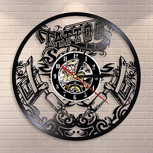 Enofvd Salón de Tatuajes decoración de Arte de Pared Disco de Vinilo Reloj de Pared Tienda de Tatuajes máquina de Tatuaje Reloj de Pared Reloj Regalo Hecho a Mano Dar Tatuaje 12 Pulgadas