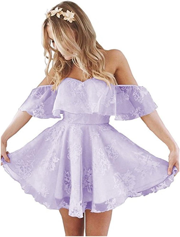 FWVR Off Shoulder A Line Short Lace Prom Homecoming Dresses Plus Size