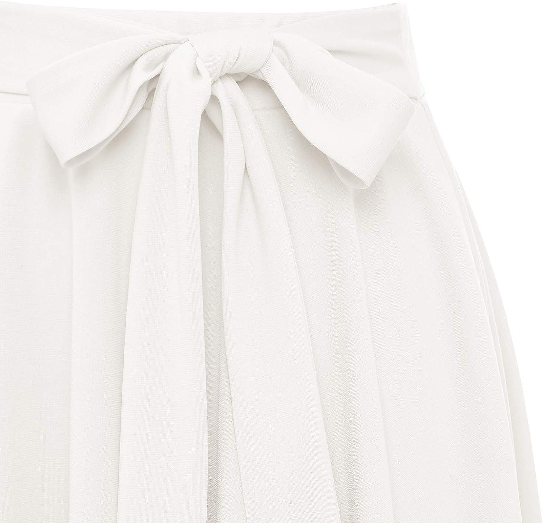Wedtrend Women's High Waist A-Line Stretchy Skirt Skater Flared Midi Skirt