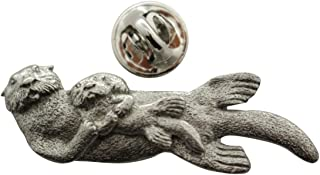 Sarah's Treats & Treasures Sea Otter with Baby Pin ~ Antiqued Pewter ~ Lapel Pin