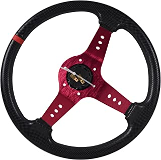 Universal Fitment 350MM PVC Steering Wheel Deep Dish Red Spoke Black Horn Button & Black Emblem by IKON MOTORSPORTS