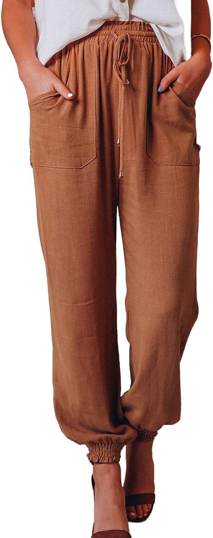 Sidefeel Women Drawstring Elastic Waist Palazzo Wide Leg Pants with Pockets