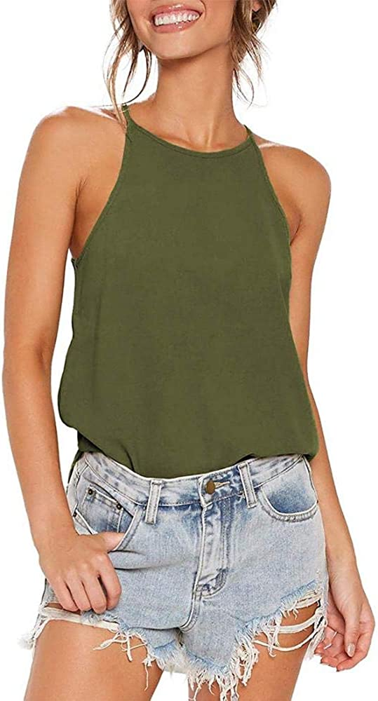 Zyxun Women Halter Neck Tops Sleeveless Strap Tank Top Summer Beach Blouses Casual Cami Tops Tee Basic T-Shirts
