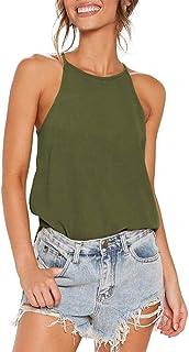 Womens Shirts Halter Neck Racerback Tank Top Summer Beach Blouses Casual Cami Tops Tee Basic Tee Shirts