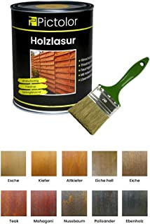 Pictolor Holzlasur 0,75 Liter Eiche hell  Lasurpinsel 70mm