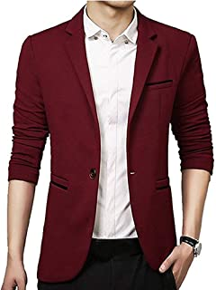 Gopune Men's Slim Fit Casual One Button Suits Coat Solid Blazer Business Jacket