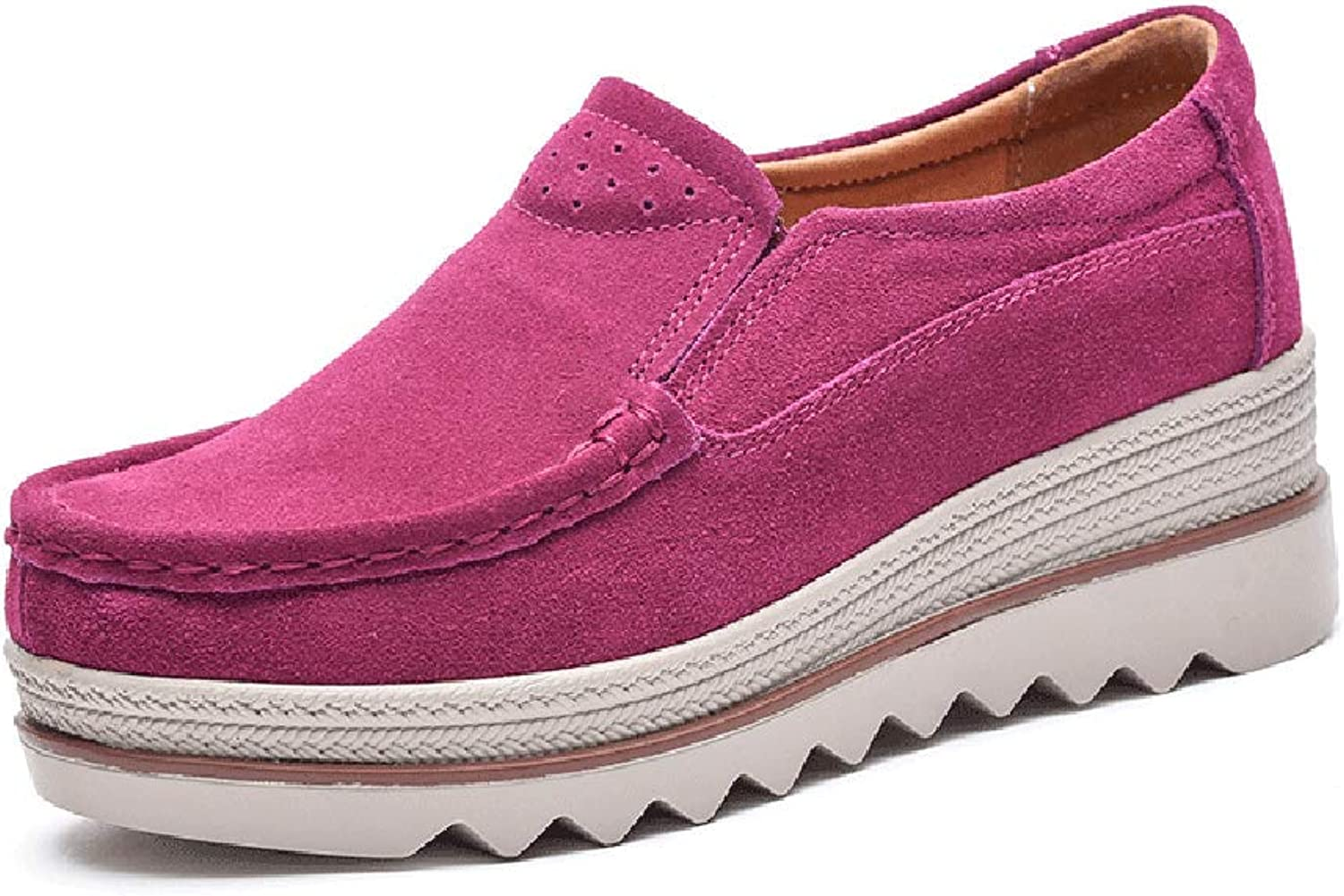 Ruiatoo Women's Leather Platform Slip on Loafers Comfort Moccasins Low Top Casual shoes pink 39