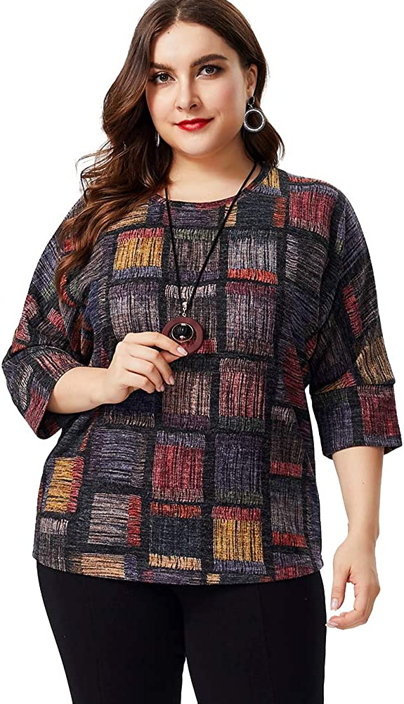 LXYD Womens Long Sleeve Crew Neck Blouses Color Block Stripe Tunic Shirt with Waistband Plus Size XL-6XL