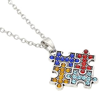 Qlychee Puzzle Piece Jigsaw Heart Cross Pendant Necklace Autism Awareness Necklace Unisex Gift 1 Pc