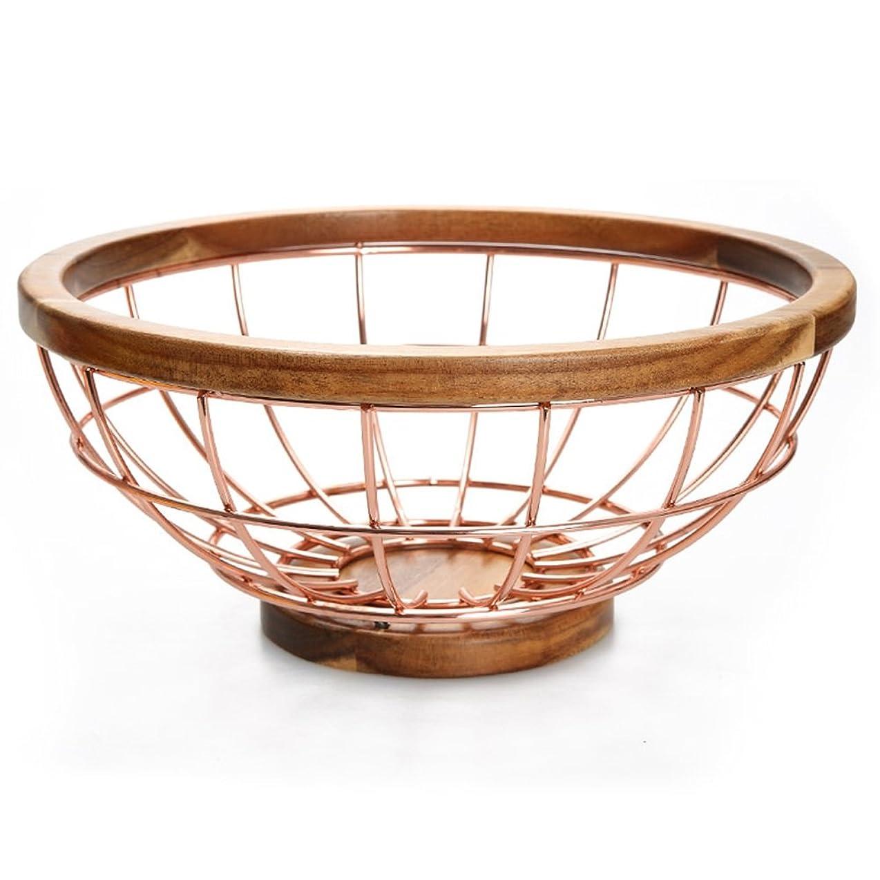 王女スーツケースファームWENZHE フルーツ ラックボウルバスケボール排水バスケット 開封 ステンレス鋼 無垢材 29.5×13×13cm