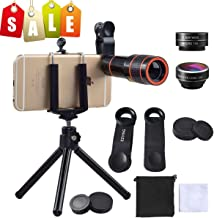 Cell Phone Camera Zoom Lens Kit, EZVING 4 in 1 HD 12X Optical Telescope Zoom Lens Fisheye Wide Angle Macro Lens w/Universal Clip Tripod iPhone 6/7/6s Plus,Samsung,Google,LG and Other Smart Phones