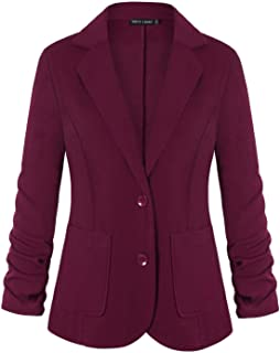 Womens Casual Work Office Blazer Pockets Buttons Suit...