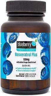Blueberry Naturals Resveratrol Plus 100 mg Vegetarian Capsules 60's B0173